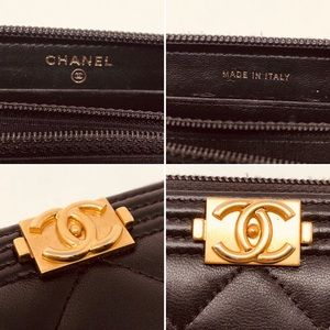CHANEL Bags - CHANEL SMALL ZIPPED BOY WALLET